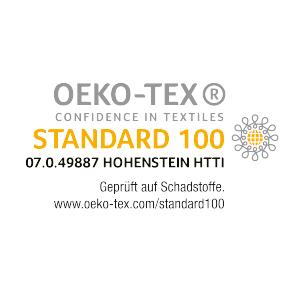 Um diese Bemühungen zu dokumentieren, lassen wir uns jährlich untersuchen – nach Öko-Tex® Standard 100, einem weltweit einheitlichen und unabhängigen Prüf- und Zertifizierungssystem für textile Roh-, Zwischen- und Endprodukte aller Art. Dabei wird unserer Produktion Jahr für Jahr die Freiheit von Schadstoffen bestätigt und zertifiziert, womit unsere Verfahren als unbedenklich selbst für Babybekleidung gelten. Darauf sind wir stolz.