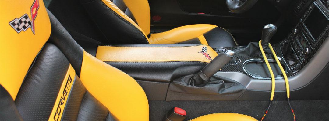 Textilveredelung für Automotive & Motorsport hier ein bedruckter Autositzbezug