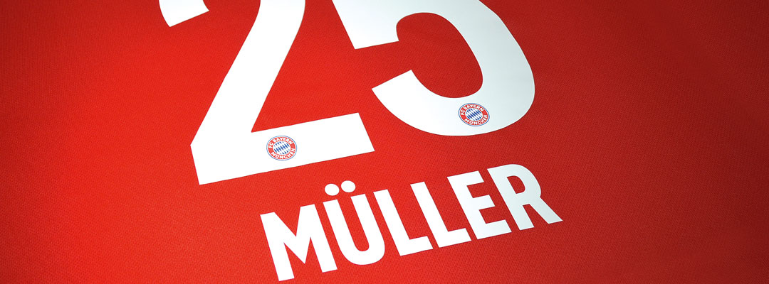 FC Bayern München Thomas Müller jersey printed with Flex P60S the universal Flex transfer for elastic soft gripsf