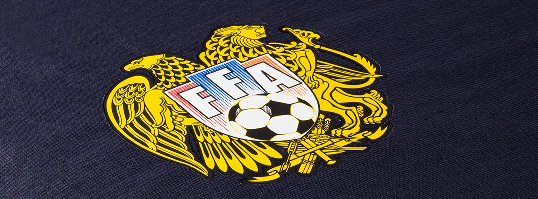 FFA logo printed with Flex P40 the highly elastic Flex transfer for heat-sensitive materials